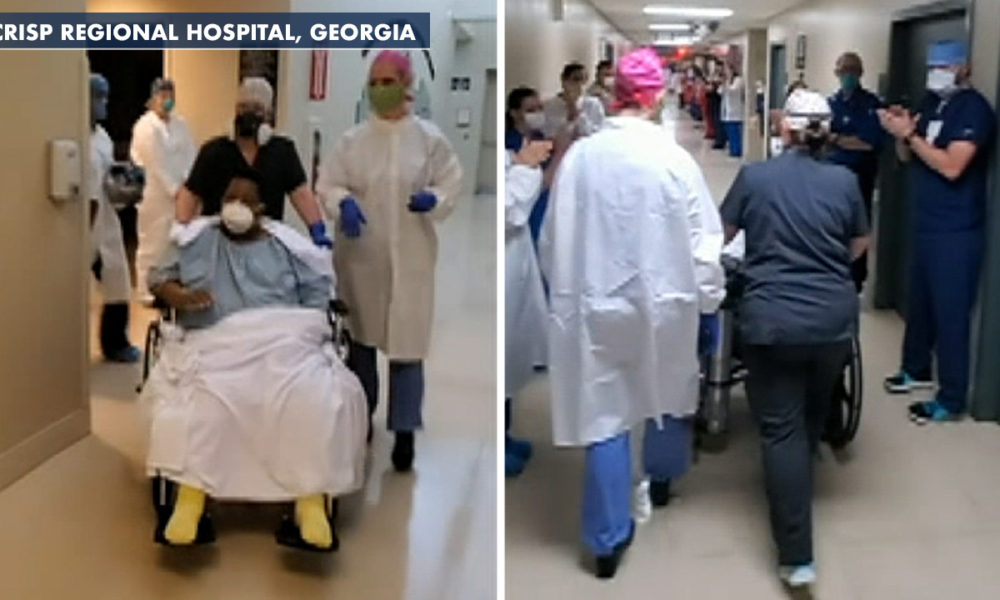 Georgia hospital workers cheer as first coronavirus patient transferred out of ICU
