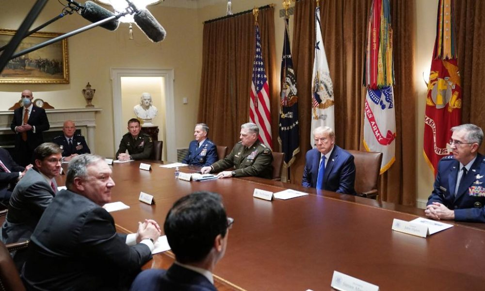 Trump meets with military leaders. No one wears a mask