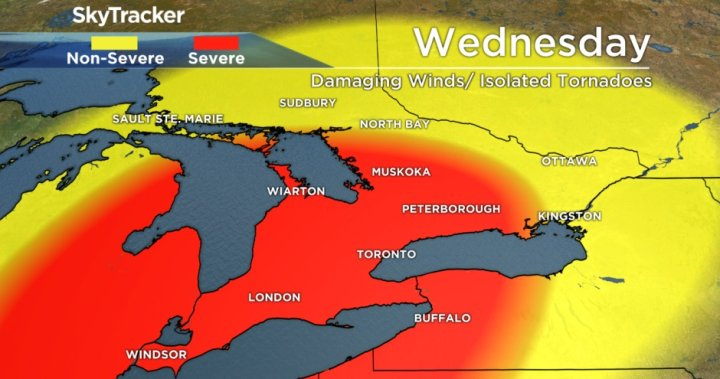 Risk of severe storms, damaging winds in southern Ontario on Wednesday – Globalnews.ca