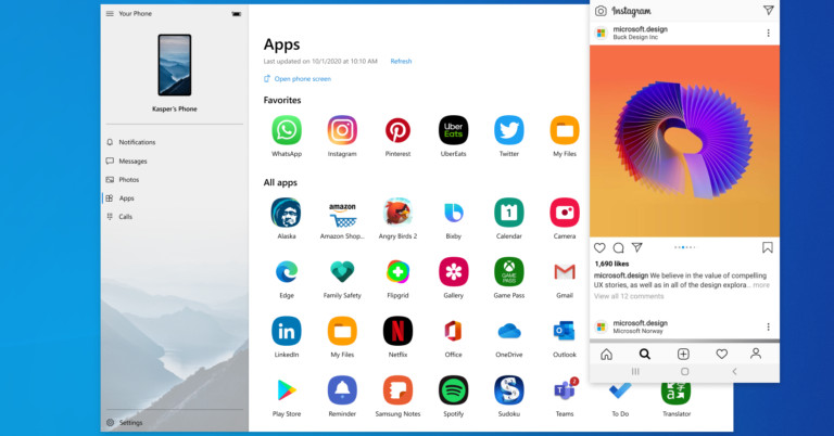 Microsoft integrates Android apps into Windows 10 with new Your Phone update
