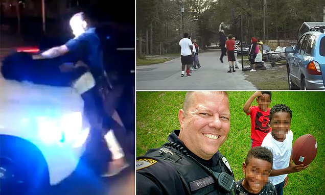 Cop who went viral for playing basketball with teens is filmed throwing black man against his car